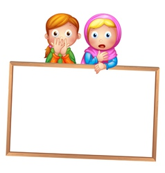 An empty framed white board with two girls vector