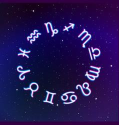 Astrology zodiac signs wheel with twelve neon vector