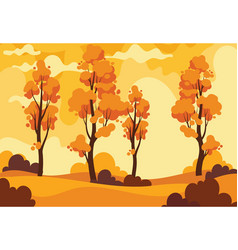 Autumn park with yellowed vector