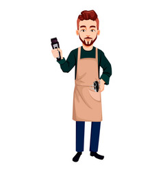 Barber man in hipster style holding hair clipper vector