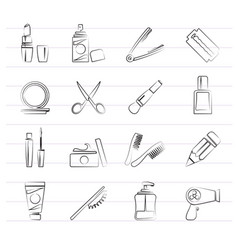 Beauty and cosmetics icons vector
