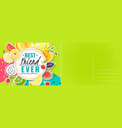 best friend card bright colorful postcard vector image