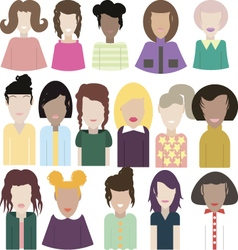 Big set of female portraits vector