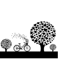 black wood with hearts with bicycle vector image