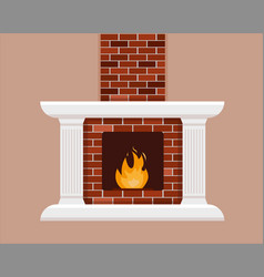brick fireplace with flame vector image