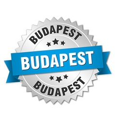 Budapest round silver badge with blue ribbon vector