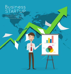 Businessman present about business start up vector