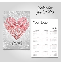 Calendar with stylized red coral heart vector