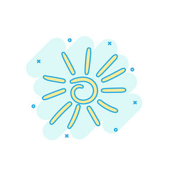 cartoon colored hand drawn sun icon in comic vector image