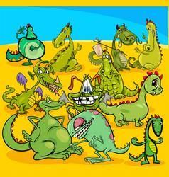 cartoon dragons fantasy characters group vector image