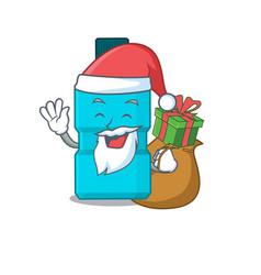 cartoon mouthwash santa having christmas gift vector image