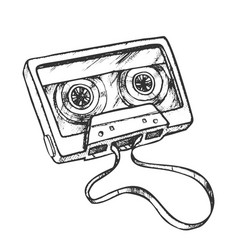 Cassette tape for listening music retro vector