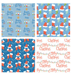 christmas seamless pattern hand drawn style vector image