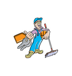 cleaning company agent cartoon vector image