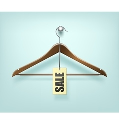 Clothes Coat Wooden Hanger with Sale Tag Label vector image