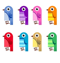 Collection of cartoon birds vector