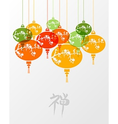 Colorful chinese zen lamps vector
