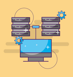 computer data server center setting technology vector image
