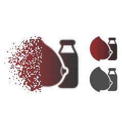 Damaged pixelated halftone mother tit milk bottle vector