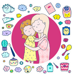 daughters-mothers icons toys household items vector image