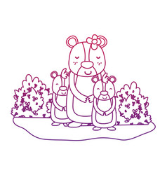 Degraded outline female bear with its sons animals vector