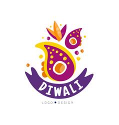 diwali logo design hindu festival label poster vector image