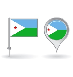 Djibouti pin icon and map pointer flag vector