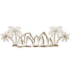 Doodles mountains and coconut trees vector