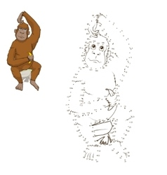 Draw the animal orangutan educational game vector