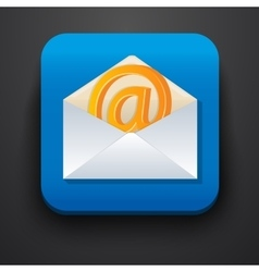envelope symbol icon on blue vector image