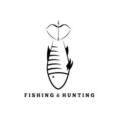 Fishing and hunting concept with fish and bow vector