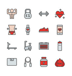 fitness related in colorline icon set vector image