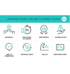 flat line design concept icons online e-learning vector image