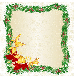 frame made of yew and poinsettia vector image