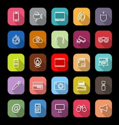 Gadget line icons with long shadow vector image vector image