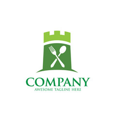 green castle and food logo vector image