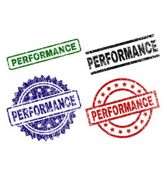 grunge textured performance seal stamps vector image