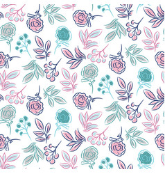 hand drawn flower pattern seamless texture vector image