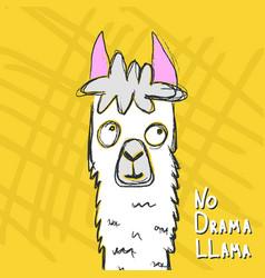 hand drawn funny alpaca vector image