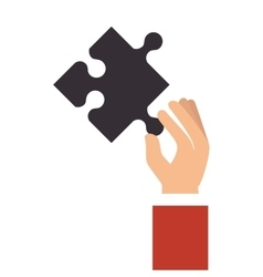 hand holding a puzzle piece vector image