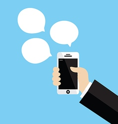 Hand holding white smartphone vector image