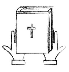 hands with holy bible vector image