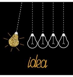 Hanging gold glitter light bulbs Dash line vector