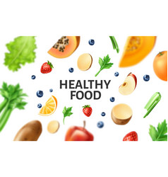 Healthy food organic fruit at wooden table vector
