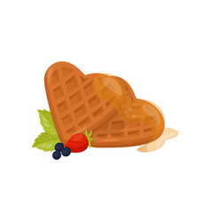 heart shaped waffles with honey ripe strawberry vector image