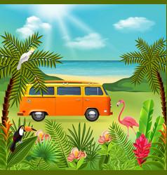 Hippie van holidays composition vector