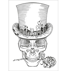 human skull in a top hat vector image