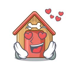 In love dog house isolated on mascot cartoon vector