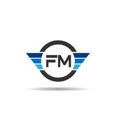 Initial letter fm logo template design vector