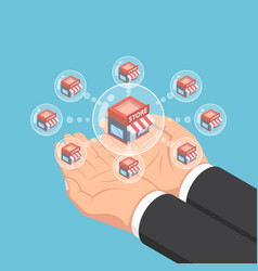 Isometric businessman hands holding store network vector